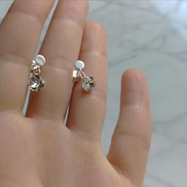 Zilveren cirkel oorbellen met Swarovski kristallen