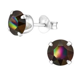 zilveren oorknopjes Swarovski kristal Rainbow 6 mm