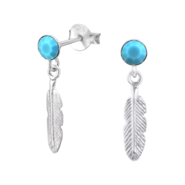 zilveren veren oorbellen kristal