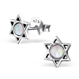 zilveren Davidster wit Opaal oorknopjes