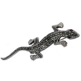 Sterling zilveren Hagedis Gekko broche Marcasiet