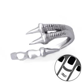zilveren draken klauw midi knokkel ring
