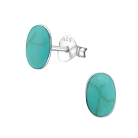 silver oval earrings Turquoise gems