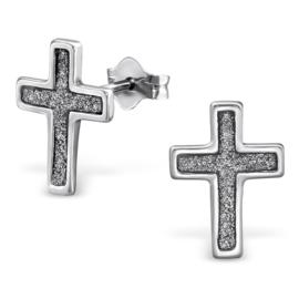 zilveren kruis oorbellen met glitters