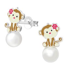 Zilveren aapjes kinderoorbellen met parels