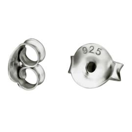 Sterling zilveren rhodium grote oorbel achterkantjes