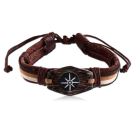 Lederen Tribal armband met hout