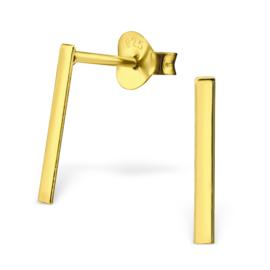 zilveren gold plated staafjes oorbellen