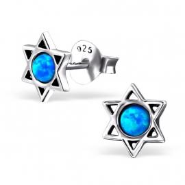 zilveren Davidster opaal oorbellen