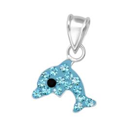 dolfijn hanger zilver met kristal