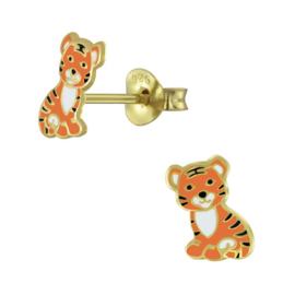 silver gold tiger earrings