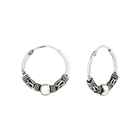 Silver Bali creoles earrings 16 mm