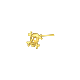 zilveren gold plated skull neuspiercing