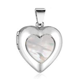 Zilveren foto medaillon hartje parelmoer hanger
