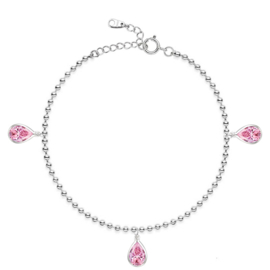 silver anklet with pink CZ