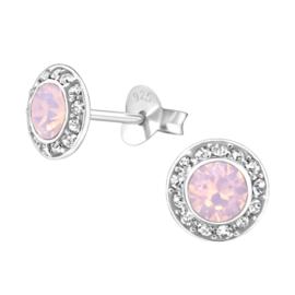 zilveren oorbellen met roze Swarovski