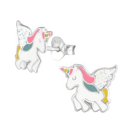 zilveren oorknopjes unicorn