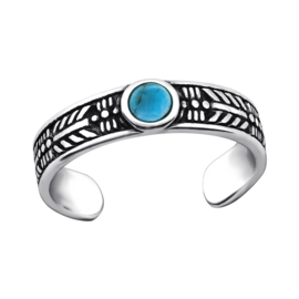 silver Bohemian toe ring Turquoise