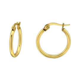 Gold plated stalen creolen 18 mm