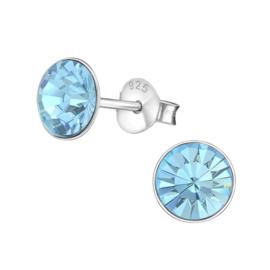 Zilveren oorknopjes met blauwe Swarovski kristal 6 mm