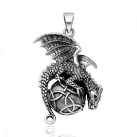 Zilveren Keltische draak kettinghanger