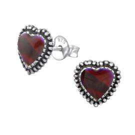 zilveren Bali hartjes oorbellen rode parelmoer