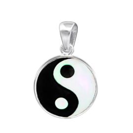 zilveren kettinghanger Yin Yang parelmoer