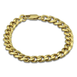 stalen gold plated  schakelarmband