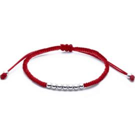 rode Kabbala  zilveren balletjes armband