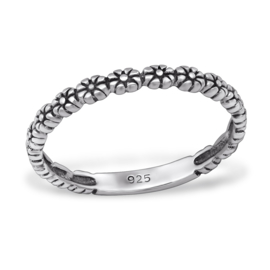 zilveren bloemen ring