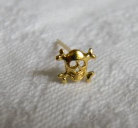 zilveren gold plated skull neuspiercing