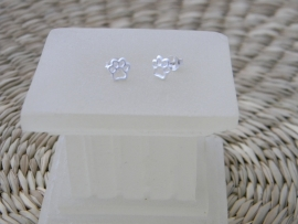 zilveren kattenpootjes oorbellen