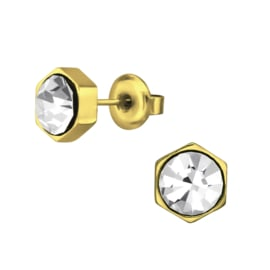 gold steel screw earrings crystal