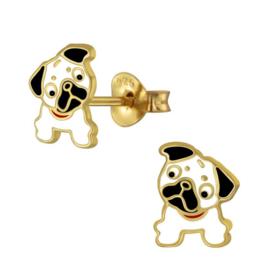 zilveren met goud Bulldog hondje oorbellen