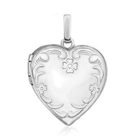 Zilveren hartje foto locket hartje bloemen hanger