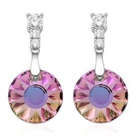 zilveren hang oorbellen met ronde Swarovski kristallen