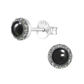zilveren oorbellen met Swarovski parel en kristal