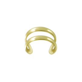 zilveren gold plated oorklem fake piercing dubbele oorring