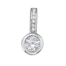 Zilveren klassieke ronde kettinghanger zirkonia