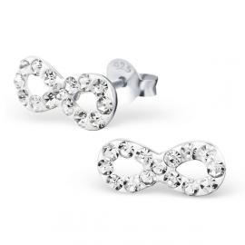 zilveren infinity kristal oorbellen