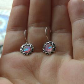 Zilveren oorbellen roze opaal