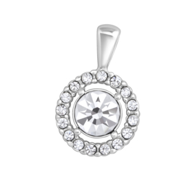 zilveren ronde kettinghanger kristal