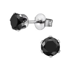 Stalen oorknopjes zwarte kristal