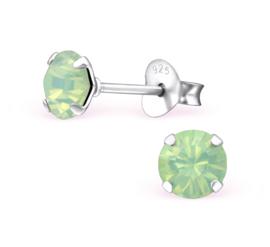 zilveren oorknopjes Swarovski kristal Chrysolite Opal 5 mm