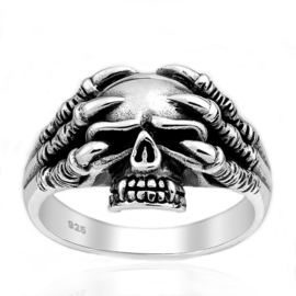 Silver skull skeleton ring