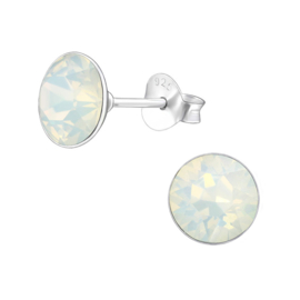 silver earrings with Swarovski opal 6 mm