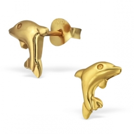 silver gold dolphin earrings
