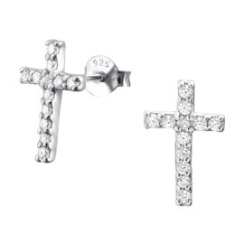 zilveren kruis oorknopjes met zirkonia