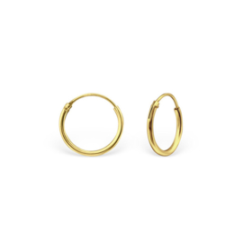 zilveren gold plated  creolen 12 mm