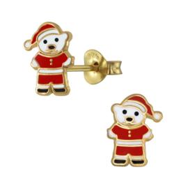 zilveren goud kerstman beertjes oorbellen